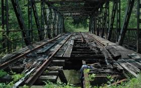 Обои разрушен, рельсы, заброшен, железнодорожный мост