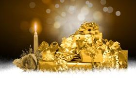 Обои снежинки, абстракция, роза, свеча, подарки, золотой, Новогодние