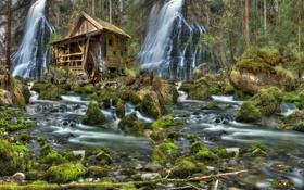 Картинка пейзаж, природа, камни, водопад, мох, HDR, мельница
