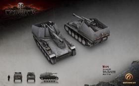Обои Германия, танк, танки, рендер, WoT, World of Tanks, Wespe