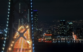 Картинка san francisco, night, ночь, огни, мост, bridge, california