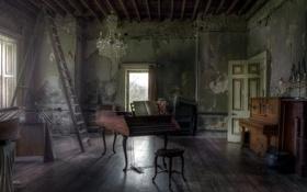 Обои комната, интерьер, рояль