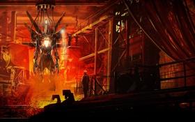 Обои металл, огонь, провода, завод, человек, робот, арт