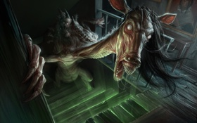 Картинка dark, wood, fear, horse, hands, faces, staircase