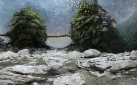 Картинка деревья, пейзаж, птицы, мост, река, камни, скалы