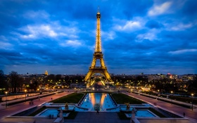 Картинка небо, облака, ночь, огни, Франция, Париж, башня