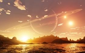 Обои море, планета, Alien Shores