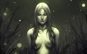 Картинка грудь, трава, девушка, ночь, светлячки, волосы