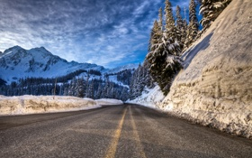 Обои forest, road, winter, mountain, snow