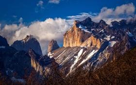 Обои облака, пейзаж, скала, природа, горы, небо, Patagonia
