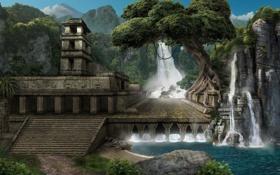 Картинка дерево, здание, арт, лестница, храм, руины, водопады