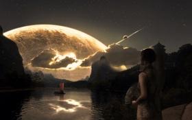 Обои девушка, планета, Empire Falls