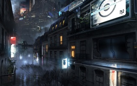 Обои ночь, город, будущее, фантастика, арт