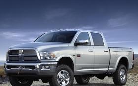 Обои небо, серый, Dodge, додж, пикап, передок, джип.внедорожник