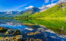 Картинка небо, облака, деревья, горы, озеро, отражение, камни