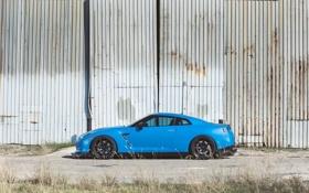 Картинка чёрные, стена, голубой, nissan, профиль, wheels, диски