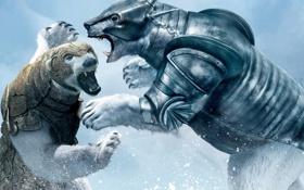 Обои снег, фентези, борьба, медведь, приключения, золотой компас, the golden compass