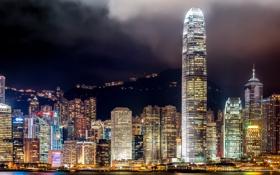 Обои город, ночные огни, Гонконг, Азия, небоскрёбы, мегаполис, Hong Kong