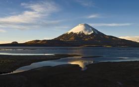 Обои небо, вода, снег, гора, вулкан