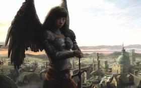 Картинка девушка, город, крылья, ангел, меч, арт, доспех