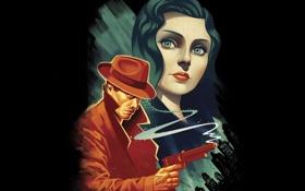 Картинка взгляд, девушка, город, пистолет, оружие, шляпа, символ