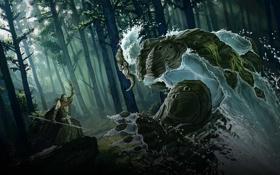 Картинка лес, вода, монстр, колдун, вызов, III, Age of Wonders