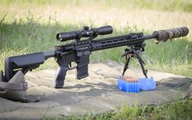 Обои оптика, глушитель, сошка, автоматическая винтовка, оружие