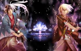 Картинка ночь, дерево, демон, мечи, мужчины, Синсэнгуми Демоны сакуры, Hakuouki Shinsengumi Kitan