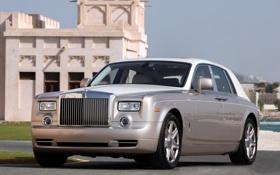Картинка фон, здание, Rolls-Royce, Phantom, передок, Фантом, Роллс-Ройс