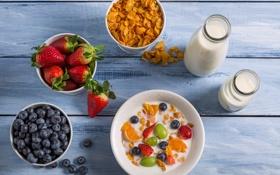 Картинка ягоды, молоко, черника, клубника, fresh, berries, breakfast
