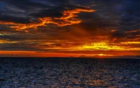 Картинка море, небо, облака, закат, побережье, зарево