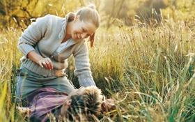 Картинка поле, трава, девушка, смех, парень, улыбки, fun