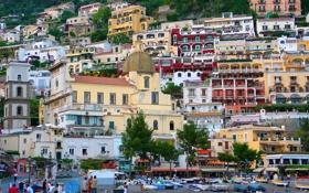 Картинка гора, дома, склон, Италия, Позитано, Салерно
