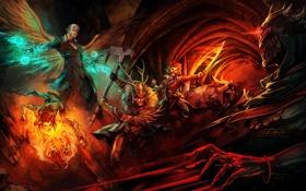 Обои тьма, магия, крылья, меч, воин, фэнтези, битва