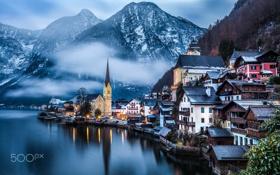 Обои австрия, село, гальштат, зима