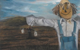 Обои картина, норвежский художник, Christer Karlstad, Scarecrows