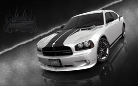 Обои авто, черно-белый, обои, тюнинг, Dodge charger