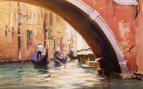 Картинка птицы, мост, чайки, картина, арт, акварель, Италия