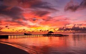 Обои небо, океан, рассвет, пирс, мальдивы, бунгало