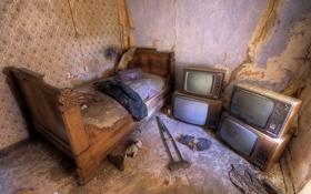 Обои кровать, интерьер, телевизоры, кастыль