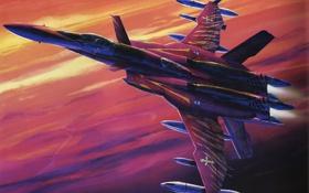 Обои самолет, рисунок, истребитель, ракеты, арт, подвески, macross zero