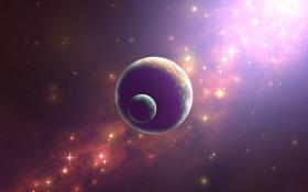 Обои свет, сияние, планета, спутник, звёзды, яркость