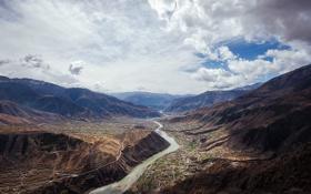Картинка горы, река, China, Китай, Magnificent Da Du River