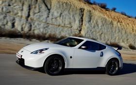 Обои машина, скорость, Nissan, white, вид сбоку, 370Z, Nismo