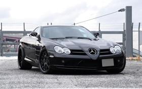 Обои небо, чёрный, black, Mercedes Benz, sky, передок, SLR McLaren