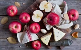 Обои листья, яблоки, сыр, красные