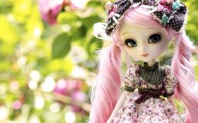 Обои природа, игрушка, кукла, розовые, локоны