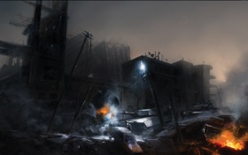 Картинка город, машина, танк, солдат, ночь, война, battlefield 3