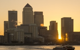 Картинка солнце, город, рассвет, дома, небоскребы, утро, London