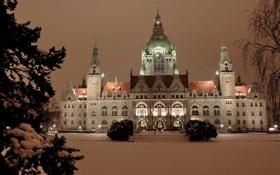 Картинка зима, снег, город, фото, здание, ель, Германия